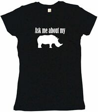 Ask Me About My Rhino Logo Womens Tee Shirt Pick Size Color Petite Regular