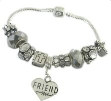 PERSONALISE ANTIQUE SILVER CHARM BRACELET RELIGIOUS THEME WITH CROSS & BIBLE