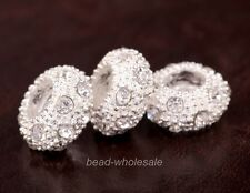 Hotsale Shine Glass crystal alloy Spacer Bead For making Bracelet/Necklace