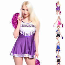 Varsity Cheer School Girl Cheerleader Fancy Dress Up Uniform w/ Pom Poms