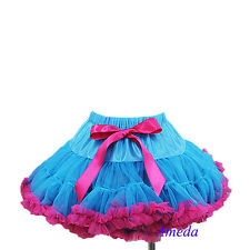 Girls Peacock Blue Hot Pink Pettiskirt Birthday Party Pageant Tutu 1-7Y