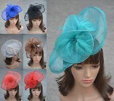 A134 Ladies Sinamay Feather Wedding Bridal Cocktail Hat Fascinator Party Church