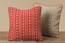 Christmas Heart & Snowflake Cushion Cover Red/Beige. Xmas Accessory/Decoration..
