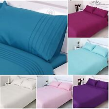 Pleated 4pc COMPLETE Plain dye Duvet Quilt Cover Bedding Set & Free Fitted Sheet