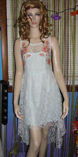 NEW! FREE PEOPLE Ice Blue Asymetrical RUSSIAN DOLL Floral Lace DRESS S M L $168