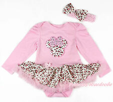 Pink Leopard Minnie Pink Long Sleeve Baby Bodysuit Pink Leopard Skirt NB-18Month