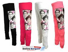 Girls 1D ONE DIRECTION He's the One Leggings Full Length Age 7-13 Pink White Blk