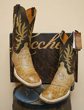 MENS LUCCHESE COWBOY BOOTS! CX1112.W8! FULL QUILL OSTRICH-SQUARE TOE! CREPE SOLE