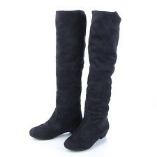 Women Over The Knee Shoes Winter Flat Heel Suede Thigh High Slouch Casual Boots