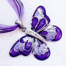 Charm Girl/Lady Crystal Butterfly Pendant Long Chain Necklace Gift