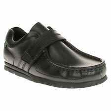New Boys Kickers Black Fragile Strap Leather Shoes Loafer Velcro Slip On
