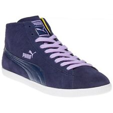 New Womens Puma Blue Glyde Mid Suede Trainers Hi Top Lace Up