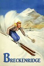 Ski Breckenridge Colorado Vintage Poster Skiing Blond Lady Reproduction FREE S/H