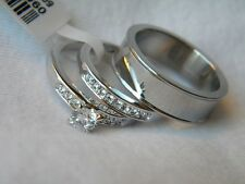 3 Piece His and Hers Wedding Band/Ring Set. FREE SHIPPING! FREE RING BOX!