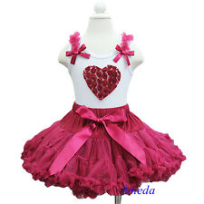 Girls Red Wine Pettiskirt 3D Rosettes Ruby Heart White Tank Top Party Dress 1-7Y