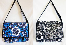 "Hawaiian Print MESSENGER/SCHOOL BAG canvas, fully lined adjustable strap 14"" new"