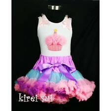 Purple Blue Pink Pettiskirt Birthday Cupcake Pettitop 2pc Party Dress 1-7 CR6WC3
