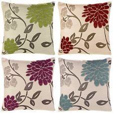 "CHRYSTIE LUXURY FLORAL CHENILLE CUSHION COVERS 18"" x 18"" ALL COLOURS"