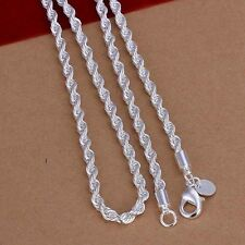 925Sterling Silver Lovely Wrest Wire Rope Chain 2mm Necklace European beads fit