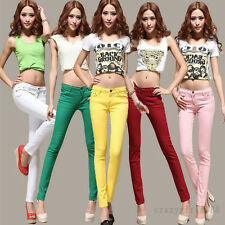 Casual Candy Stretch Pencil Pants Slim Fit Skinny Jeans Women Trousers 15Colors