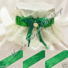 WEDDING ACCESSORIES BRIDAL HAND MADE LACE GARTER WITH EMERALD GREEN RIBBON