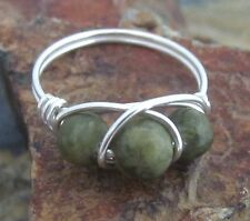 Vesuvianite Stone Ring - Sterling Silver - All Sizes - Idocrase Healing Crystals