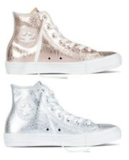 NEW CONVERSE CHUCK TAYLOR ALL STAR GLAM ROCK GOLD SILVER LEATHER HI WOMEN SHOES