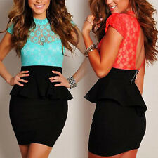 Women's Sexy Celestial Mint Green and Coral Floral Lace Black Peplum Slim Dress