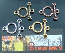 10/20 SETS TOGGLE & TBAR CLASPS 4 COLOURS ANTIQUE SILVER GOLD BRONZE RED COPPER