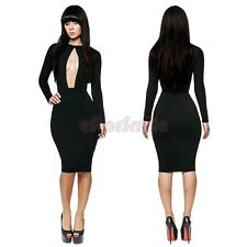 New Sexy Womens Clubwear Cut Out Open Front Bodycon Dress Party Club Cocktail
