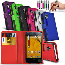 Leather Wallet Flip Skin Case Cover, SP & Stylus Pen For LG Nexus 4 E960