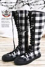 20 Hole Punk Rock Knee Hi Laceup Sneaker Flat Boot Black & White Checker Plaid