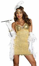 Sexy Gold Fringe Flapper Adult 20s Halloween Costume
