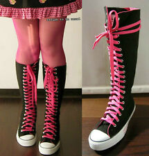 20 Hole Punk Rock Canvas Laceup Knee Hi Black Hot Pink Lining Sneaker Flat Boot