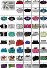 LADIES DIAMANTE BEADED CLUTCH BAG PURSE PROM BALL GIFT BOX WEDDING PARTY GIFT