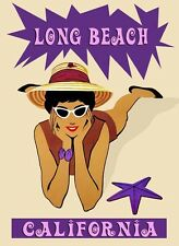 City of Long Beach California Girl Starfish Travel Vintage Poster Repro FREE S/H