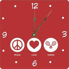 Rikki Knight Peace Love Tennis Red Color  Wall Clock