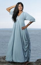 @S413 ELEGANT DUSTY BLUE STUNNING JERSEY EMPIRE FASHION DRESS 'MADE TO ORDER'