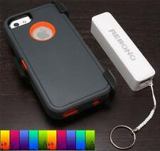 Rugged Shockproof Defender Case+2600 Mah Rechargeable Battery For Iphone 5/5s