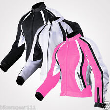 Ladies Motorcycle Tech Mesh Air Vented Waterproof Summer Cordura Armour Jacket