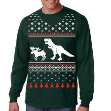 T-Rex Attack Ugly Sweater LONG SLEEVE Shirt Funny Christmas Shirt Dino