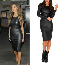 Sexy Cap/Long Sleeve Faux Leather Look PVC Bodycon Strech Long Midi Party Dress