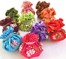wholesale 10/20/30/50/100PCS HADEMADE EMBROIDERED SILK JEWELRY ROLLS Pouch
