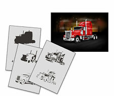 Step by Step Airbrush Stencil AS-257 LKW ~ Template ~ UMR-Design
