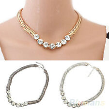 Women Stylish Elegant Punk Style Crystal Metal Chain Necklace Sweater Chain BC4U