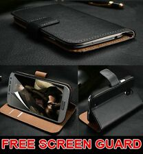 Luxury Genuine Real Leather Flip Case Wallet Cover For Samsung Galaxy Models