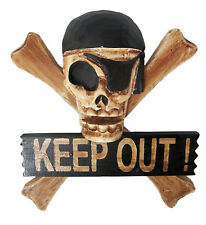KEEP OUT sign with SKULL & BONES design: pirate teenage bedroom horror rocabilly