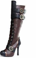 Womens Knee High Steampunk Pirate Boots Brown & Black Size 6 7 8 9 10 11 12