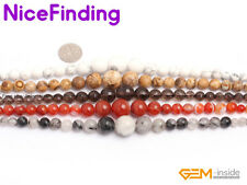 """6-14mm graduated colorful gemstone loose beads 15""""jewelry making 7 material pick"""