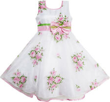 Girls Dress Pink Flower Wedding White Princess Unique Bow Child Clothing SZ 4-12